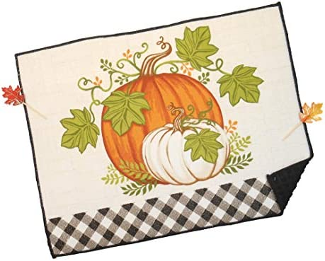 White and Orange Pumpkins Kitchen Dish Drying Mat with Solid Orange Reversible Side and 2 Fall Leaf Picks 15 x 20 Bundle of 3