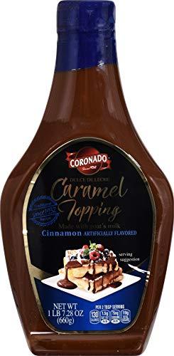 CORONADO Dulce de Leche Caramel Topping - Sweet Cajeta Sauce/Spread with Real Goat Milk - Squeezable Bottle, 23.3oz (Cinnamon) ()