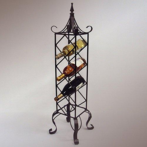 J&J Wire Free Standing Vertical Wine Rack, Bronze