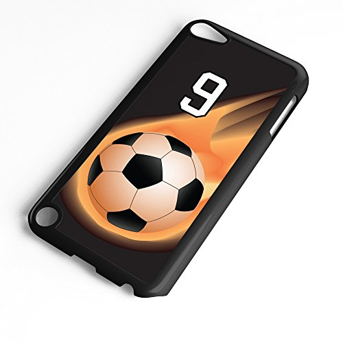 (iPod Touch Case Fits 6th Generation or 5th Generation Soccer Ball #6400 Choose Any Player Jersey Number 9 in Black Plastic Customizable by TYD Designs)