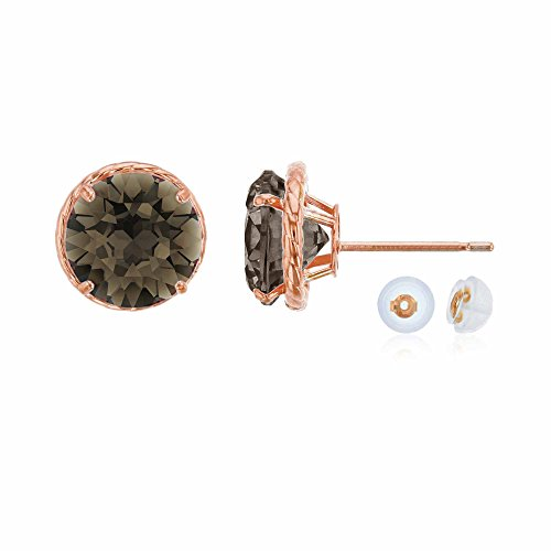10K Rose Gold 7mm Round Smokey Quartz Rope Frame Stud Earring with Silicone Back