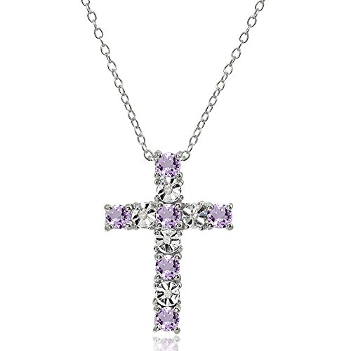 Amethyst Pendant Cross - Sterling Silver Amethyst Cross Religious Pendant Necklace