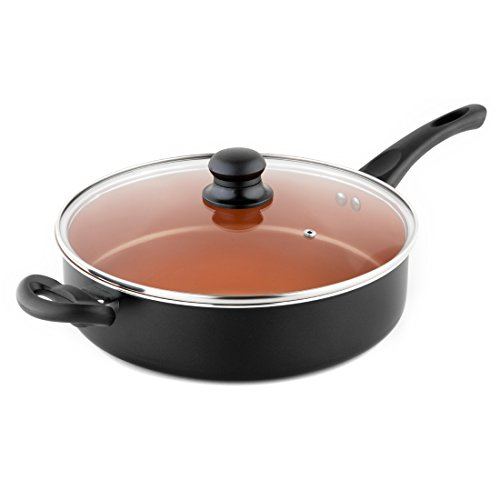 Michelangelo Non Stick Saute Pan With Helper Handle & Glass Lid, Non Stick Copper Pan, 5 Quart / 11 Inch, Copper