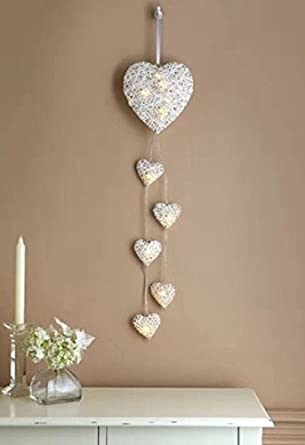 Vintage decore 6 wall hanging hearts string led lights rattan vintage decore 6 wall hanging hearts string led lights rattan hearts wall decal mozeypictures Images