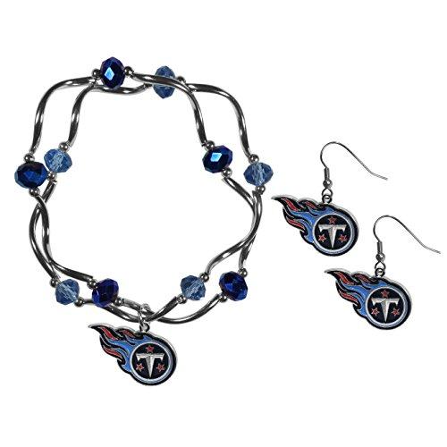 (Siskiyou NFL Tennessee Titans Dangle Earrings & Crystal Bead Bracelet Set )