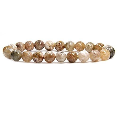 Amandastone Pink Moss Agate Gem Semi Precious Gemstone 8mm Ball Beads Stretch Bracelet 7
