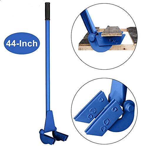 (Goujxcy 44-Inch Pallet Buster Tool with Extended Padded Handle & Free Nail Puller| Deluxe Industrial Pallet Breaker| Iron Pry Bar Deck Wrecker, Longer & Easier (Blue))
