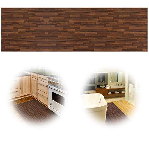 Wood Runner (ChasBete Non-Slip Kitchen Floor Mat Slip Resistant Home Hallway Bathroom Runner Indoor Carpet Outside Door Rug Thin Cushioned Waterproof Heavy Duty Sticker(Wood Grain))