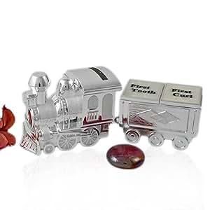 Bañado en plata Mini tren Hucha con primer diente y recipiente para llevar comida First Curl de regalos de caja de juego de bautizo