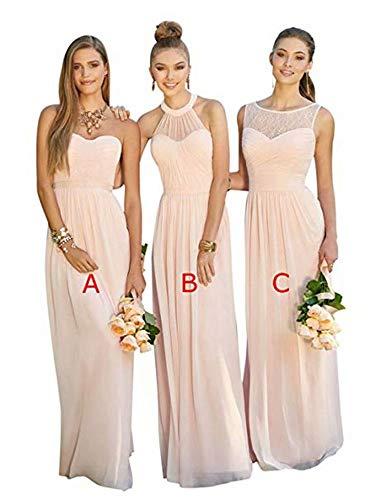 XJLY Lovelybride Pink A Line Long Chiffon Prom Bridesmaid Dress Wedding Party Dress
