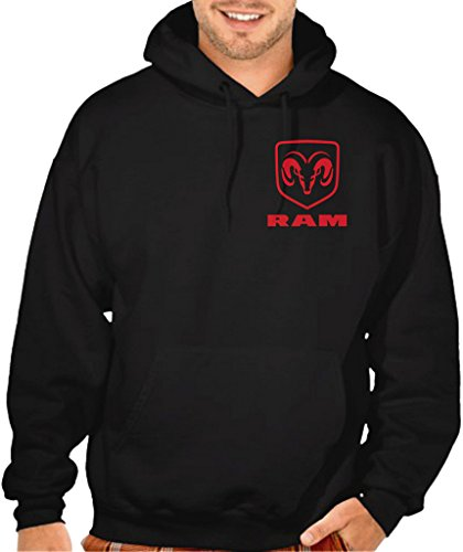 Men's Dodge Ram Logo Chest Black Pullover Hoodie Sweater Large - Sweatshirt Dodge
