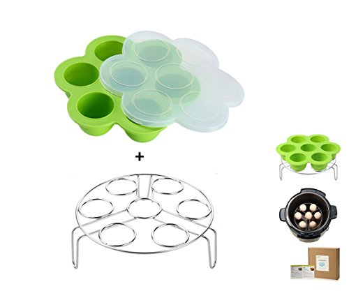 Egg Bites Molds for Instant Pot Accessories by ULEE – Fits Instant Pot 5/6/8 qt Pressure Cooker, Both the Tray and Lid Made of Silicone, Stainless Steel Egg Steam Rack Included (Green)