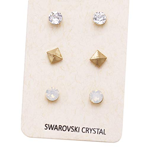 Rosemarie Collections Women's 3 Pairs Pretty 7mm Stud Earrings Made with Swarovski Crystals (Gold Pyramid)