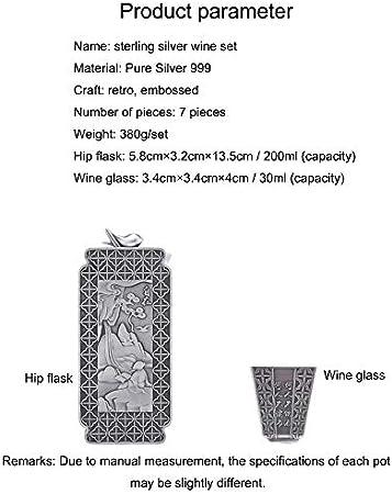 XXSC-ZC Copa de Vino de Plata, Licor Jersey Ron, Juego de jarras de Plata de Vino Hecho a Mano, Jarra de vinos Cuadrados, Juego de Siete Piezas