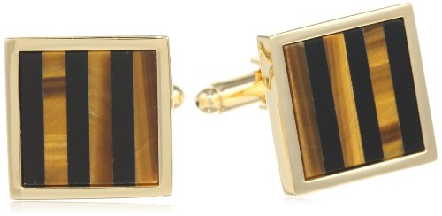 Stacy Adams Men's Square Cuff Link With Onyx and Tiger Eye Stripe, Gold, One Size (Enameled Cufflinks)