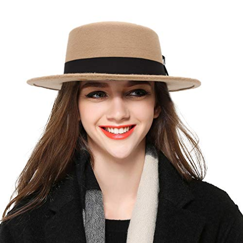 (BOGIWELL Women's Classic Wool Felt Pork Pie Hat Flat Top Church Fedora Hat Beige)