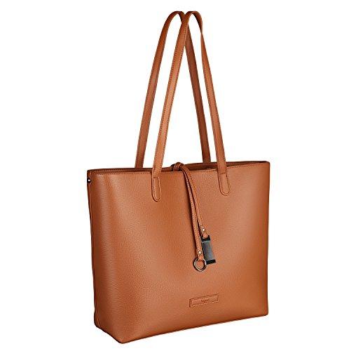 tragwert. Borsa da donna Shopping Bag LARA - Borsa tote a spalla Shopper Borsetta Pochette marrone