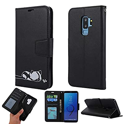 Strap Leather Case for Samsung S9 Plus,Folio Flip Wallet Case for Samsung S9 Plus [Black Solid Color],Girlyard Stylish Cute 3D Embossed Cat Pattern with Card Slots Magnetic Fold Stand Phone Cover: Electronics