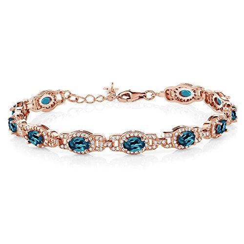 (Gem Stone King 9.65 Ct Oval London Blue Topaz 18K Rose Gold Plated Silver 7 Inch Bracelet With 1 Inch Extender )