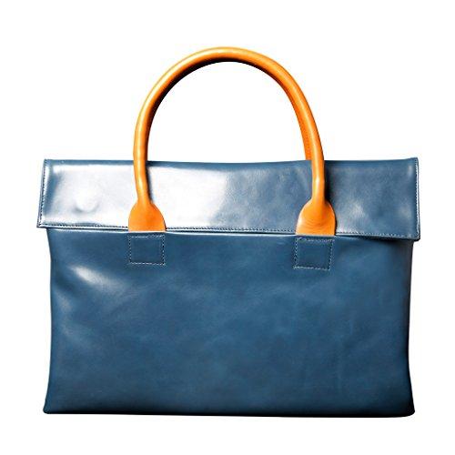 Price comparison product image lieomo 14 inch Genuine Leather Laptop Handbag Macbook Portfolio iphoe/ipad/Macbook Air Bag (Blue)