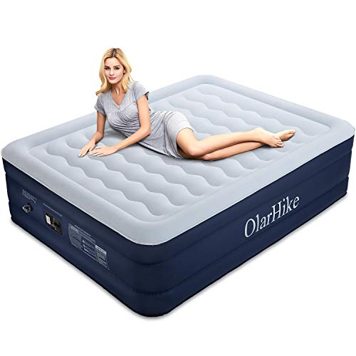 OlarHike Queen Air Built-in Pump, Puncture Proof Blow up Inflatable Mattress with Comfort Flocked, Raised 18''High Airbed for Guests Camping Travel, 80x60x18inches, Ocean Blue