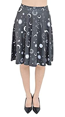 PattyCandy Womens Sun Stars and Moon Sparkly Shining Digital Print High Waist Skirt, XS-3XL