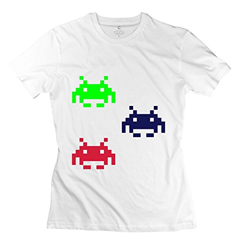 ZEKO Women's Tee Spaceinvader Size S White