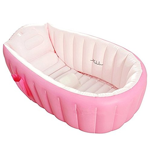 Inflatable Bathtub Large Capacity Plastic Air Baby Swimming Pool Kids Thick Foldable Shower Basin, Pink Fajiabao