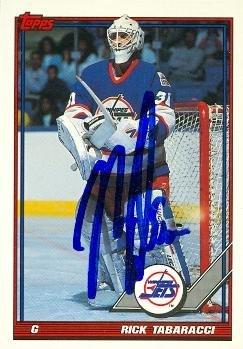 Autograph Warehouse 64802 Rick Tabaracci Autographed Hockey Card Winnipeg Jets 1991 Topps No. 375