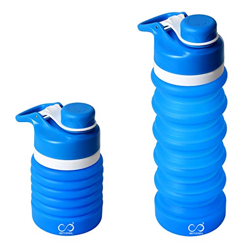 - MEYUEWAL Collapsible Water Bottle BPA Free FDA Approved Food-Grade Silicone Portable Foldable Water Bottle for Traveling Hiking Camping Cycling Gym and Outdoor Sports Leak Proof 550ML(Blue)