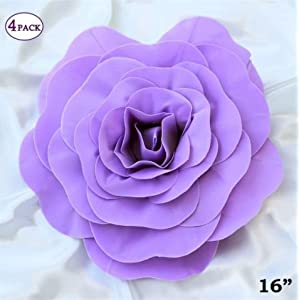 AK-Trading Giant Real Touch Artificial Foam Paper Craft Rose DIY 3D Artificial Flowers for Wedding Room Wall Decoration 113