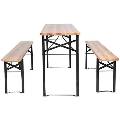 3 PCS Beer Table Bench Set Folding Wooden Top Picnic Table Patio Garden New for outdoor activities & garden use Review