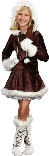 [Girl'S Costume: Eskimo Cutie Pie- Small - Product Description - Zipper Front Stretch Crushed-Velvet Dress Has Faux Fur Trimmed Hood With Pom-Pom Ties. Includes Mittens, Faux Fur Trimmed Boot Covers And Faux Chocolate Popsicle. Petticoat Not Incl] (Eskimo Cutie Costumes)