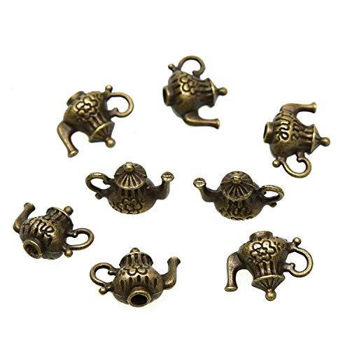 Monrocco 50 Pcs Antique Bronze 3D Double Sided Metal Teapot Charms Pendant for Bracelets Necklace Jewelry Making