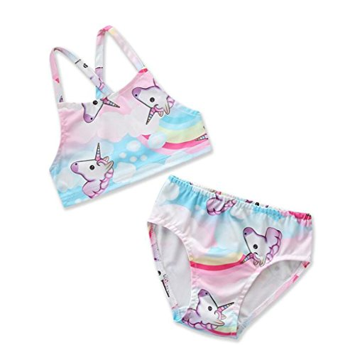 Girls' Two Pieces Unicorn Rainbow Swimsuit (5T) by TIMMIYA