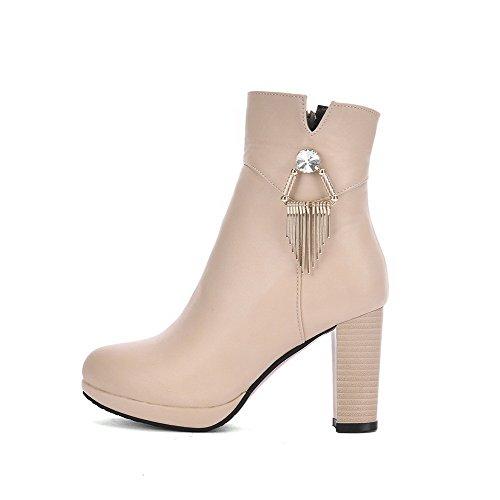 AllhqFashion Damen Rein Hoher Absatz Spitz Zehe PU Leder Reißverschluss Stiefel, Cremefarben, 38