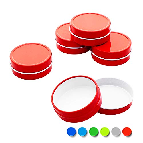 - Mimi Pack 8 oz Tins 24 Pack of Shallow Screw Top Round Tin Containers with Lids for Cosmetics, Party Favors, Gifts and Food Storage (Red)