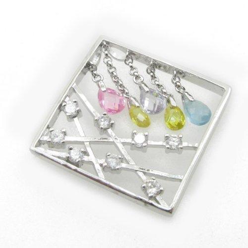 (Ladies .925 Italian Sterling Silver Square Multi Stone Dangle Pendant Length - 1.18in Width - 1.18in)