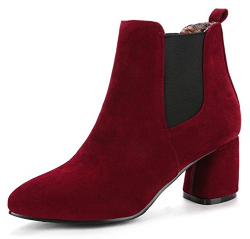 Wine Chelsea Boots Sexy Suede Heel Ankle Faux Women's Short Easemax Chunky Mid Red Pw0Eqx