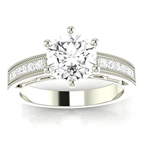 1.13 Ctw 14K White Gold Channel Set Princess Cut Engagement Ring with Milgrain w/ Round 0.75 Carat Moissanite Center - Moissanite Princess Jewelry Set