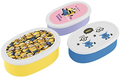 Minion Design Nesting Microwavable Food Storage Lunch Boxes Set of 3pcs ()