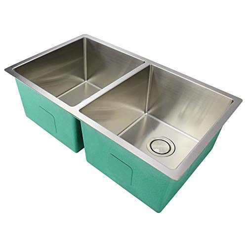(Transolid DUDET32191014 Diamond Undermount 50/50 Double Bowl 14-Gauge Stainless Steel Kitchen Sink, 32-in x 19-in x 10-in, Brushed Finish)