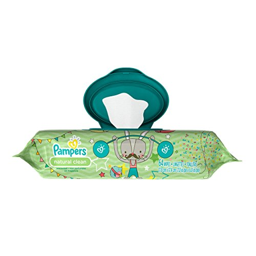 Pampers Natural Clean Wipes Travel Pack 64 Count,  (Pack of 8)