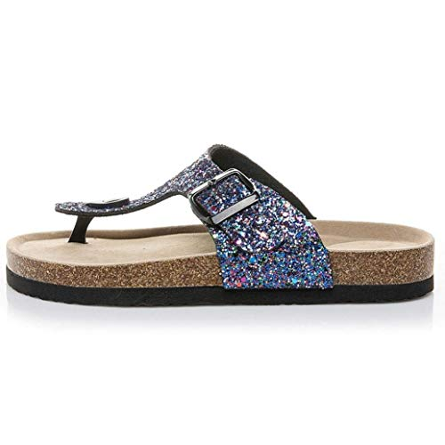 Fit Fit Fit Toe Bling Diamante Diamante Diamante Diamante Blu Colore ZHRUI Pantshoes Donna UK Ladies Heeled Lace Low Flip Dimensione Flat Sandals Imbottito Wide Strappy Gladiatore Flop 4 per Impreziositi up Viola Open fUOU8wq