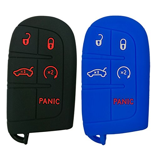 Coolbestda 2Pcs Rubber 5 Buttons Smart Key Fob Cover Case Keyless Jacket Holder for Jeep Grand Cherokee Dodge Challenger Charger Dart Durango Journey Chrysler 300