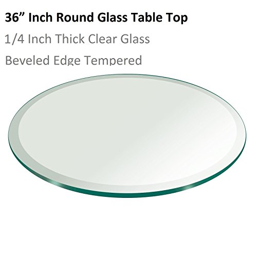 "36"" Inch Round Glass Table Top 1/4"" Thick Tempered Beveled E"
