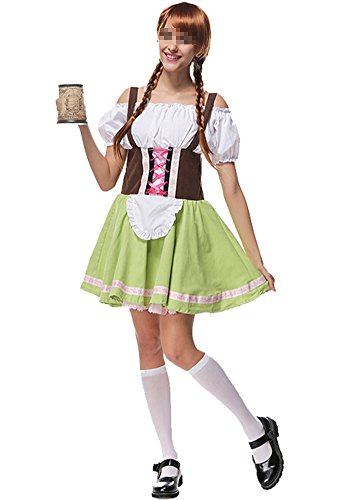 German Girl Outfit (Women's Oktoberfest Lederhosen Costume Bar Maid Cosplay Costume Dresss X-Large)