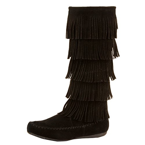 West Blvd - Lima - Womens Western Fringe 3-Tier Moccasin Flat - Faux Suede Mid Calf Boots (9 B(M) US, Blackv1 Suede)
