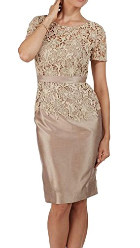 Fanmu Short Sleeves Lace Satin Mother of The Bride Dresses Champagne US 16