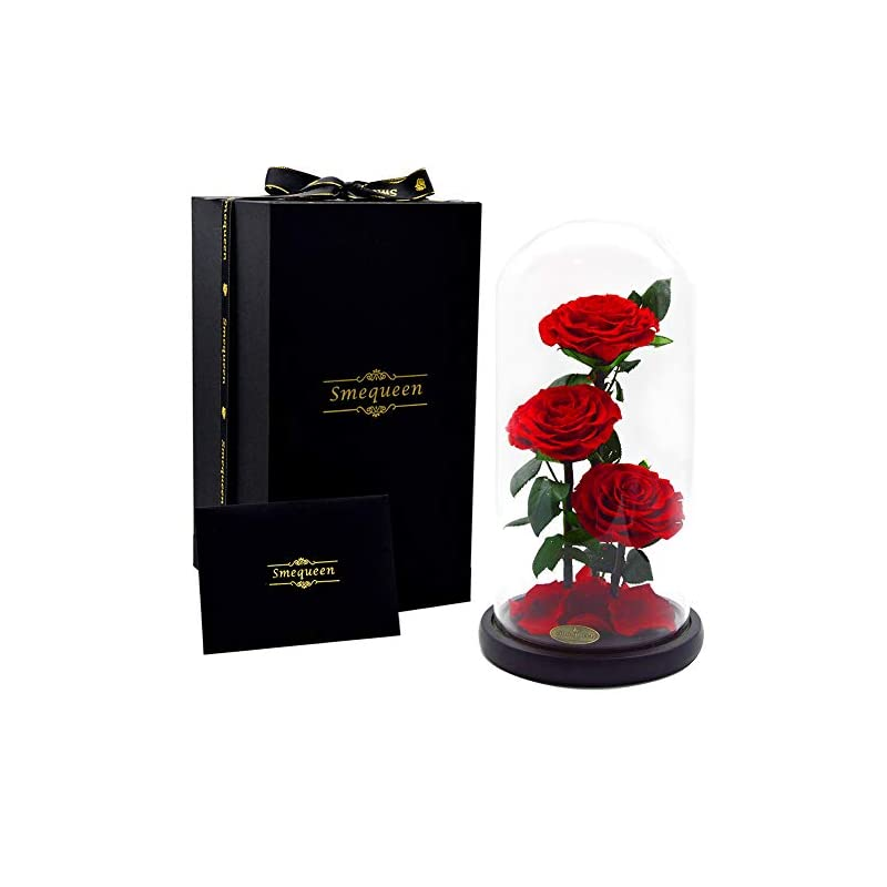 silk flower arrangements smequeen preserved rose never withered roses flower in 12.5''x 6''glass dome, gift for valentine's day anniversary birthday (red 2)